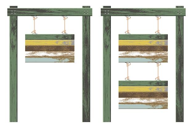 Ilustração de tábuas de madeira penduradas com cordas