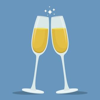 Ilustração de taças de brinde de champanhe