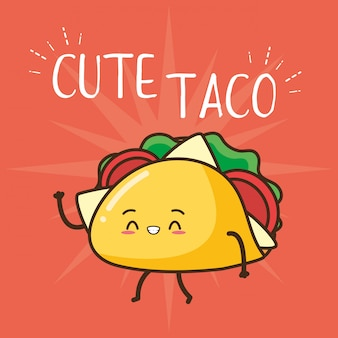 Ilustração de taco bonito de fast-food kawaii