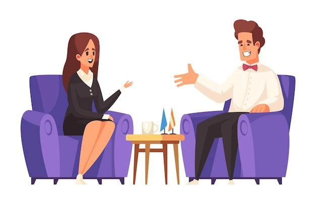 Ilustração de talk show político com personagens de mulher e homem conversando em poltronas