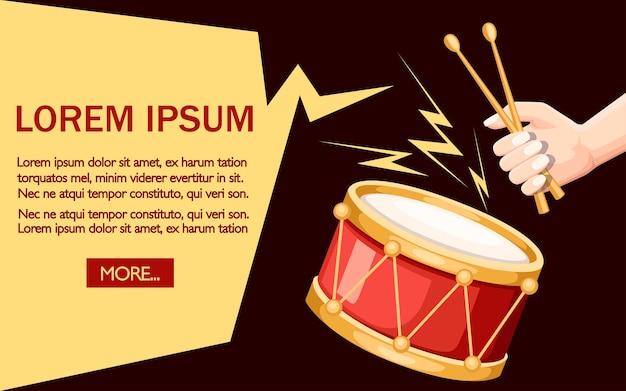 Ilustração de tambor vermelho e baquetas de madeira