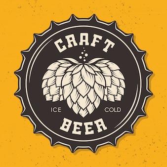 Ilustração de tampa de garrafa de cerveja artesanal com lúpulo