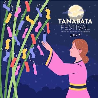 Ilustração de tanabata plana orgânica