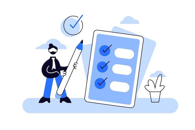 Ilustração de tarefa concluída. verificação minúscula plana para fazer o conceito de pessoas de lista.