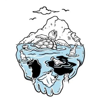 Ilustração de tartaruga chorando presa no mar sujo