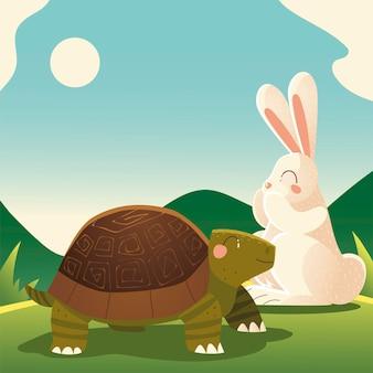 Ilustração de tartaruga e coelho na grama
