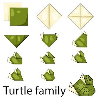 Ilustração, de, tartaruga, família, origami