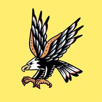 Ilustração de tatuagem da velha escola de águia voadora