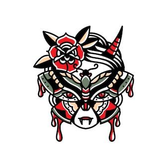 Ilustração de tatuagem de borboleta cigana