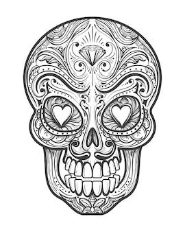 Ilustração de tatuagem de caveira de açúcar