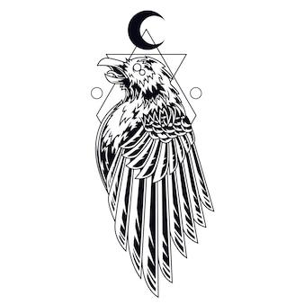 Ilustração de tatuagem de corvo preto e branco