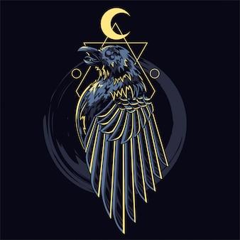 Ilustração de tatuagem de corvo