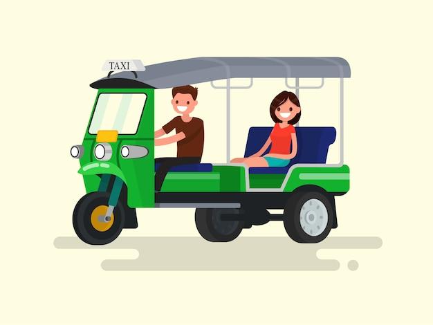 Ilustração de táxi de motorista e passageiro de três rodas tuk-tuk