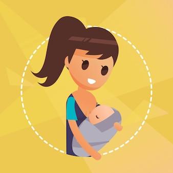 Ilustração de técnica de amamentação