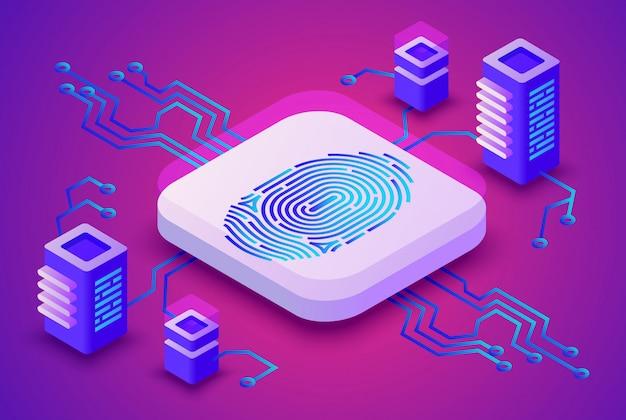Ilustração de tecnologia blockchain de biometria de segurança de impressão digital para criptomoeda