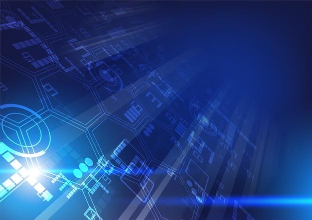 Ilustração de tecnologia com efeito de luz azul movimento