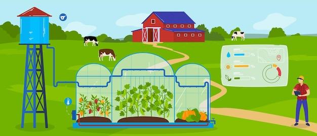 Ilustração de tecnologia de agricultura moderna com efeito de estufa.