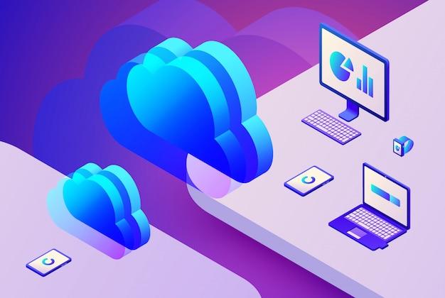 Ilustração de tecnologia de armazenamento de nuvem de transferência de dados de internet no servidor de processamento digital