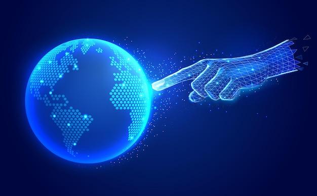 Ilustração de tecnologia de comunicação digital de inteligência artificial