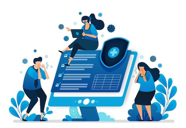 Ilustração de tecnologia de verificação de saúde. proteção da saúde.