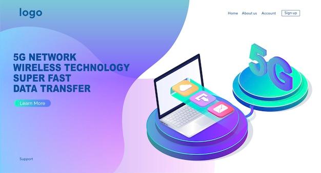 Ilustração de tecnologia sem fio de rede 5g atualização super rápida de transferência de dados design de página da web