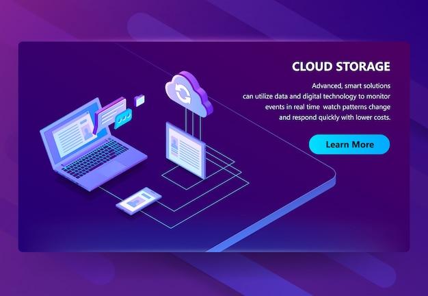 Ilustração de tecnologia web de armazenamento em nuvem