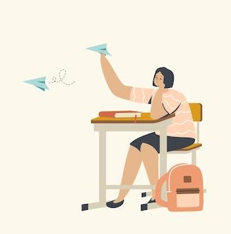 Ilustração de tédio na aula