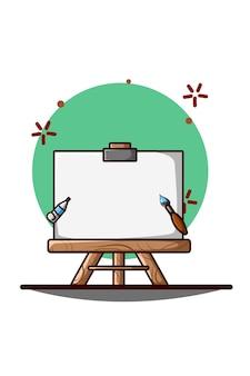Ilustração de tela, pincel e aquarela
