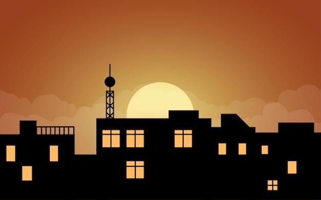 Ilustração de telhados de construção com torre ao pôr do sol