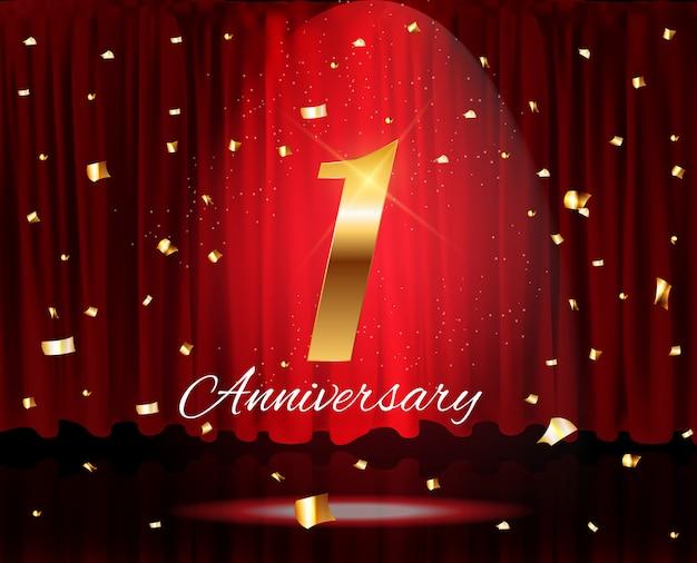 Ilustração de templatevector dourado 1 anos de aniversário