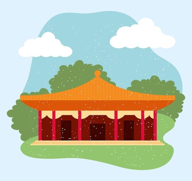Ilustração de templo chinês