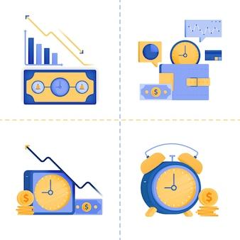Ilustração de tempo é dinheiro, negócio, tecnologia 4.0, financeiro, investimento.