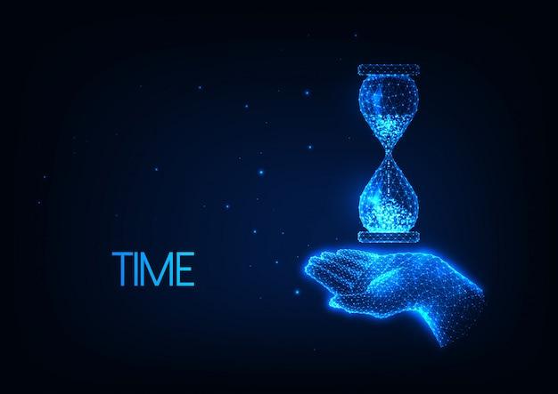 Ilustração de tempo futurista com uma mão poligonal brilhante segurando uma ampulheta