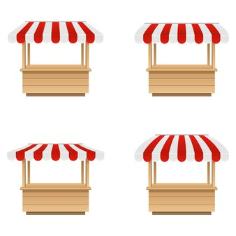 Ilustração de tenda do mercado vazio isolada no branco