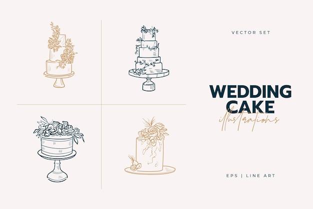 Ilustração de tendências do bolo de casamento.
