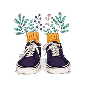 Ilustração de tênis com flores e folhas