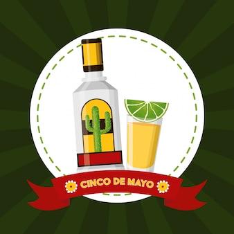 Ilustração de tequila mexicana de cinco de maio mexicano