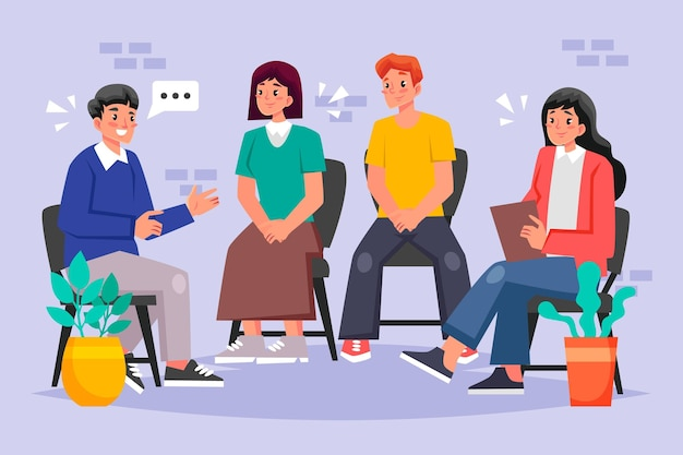 Ilustração de terapia de grupo