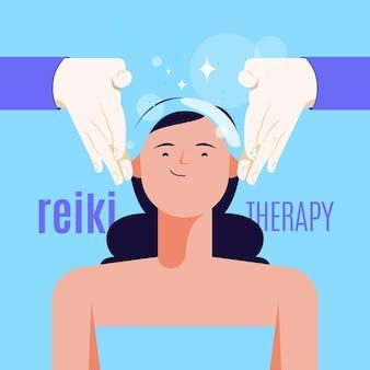 Ilustração de terapia de reiki