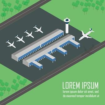 Ilustração de terminal de aeroporto