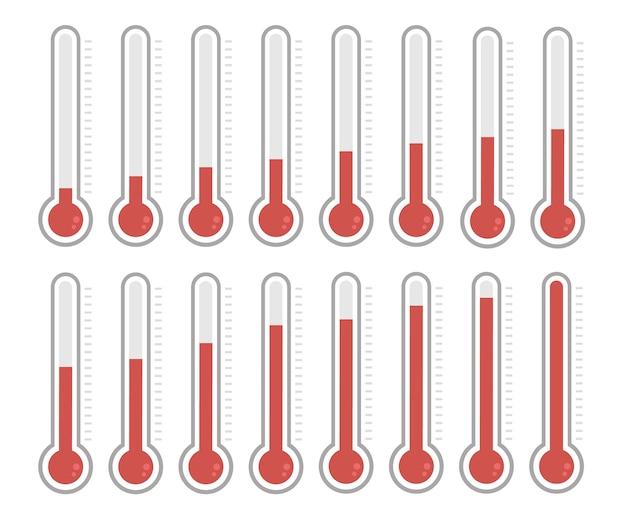 Ilustração de termômetros vermelhos com diferentes níveis.