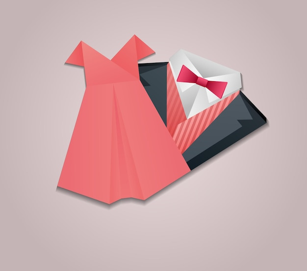 Ilustração de terno masculino de origami e vestido feminino