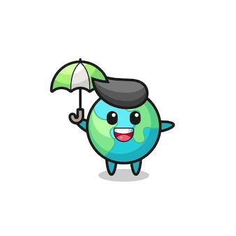 Ilustração de terra fofa segurando um guarda-chuva, design de estilo fofo para camiseta, adesivo, elemento de logotipo