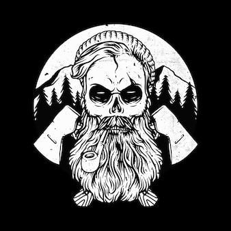 Ilustração de terror no crânio de woodman
