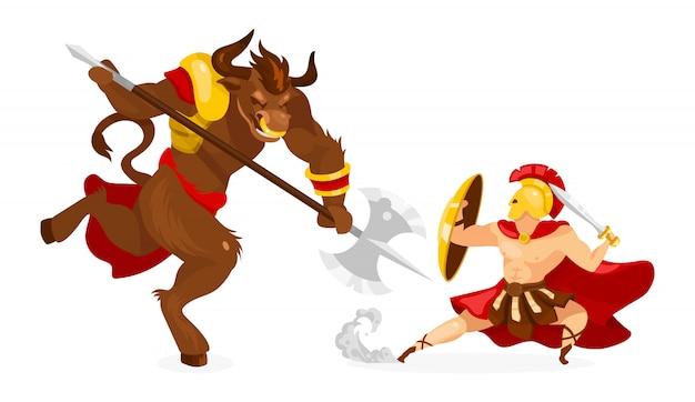 Ilustração de teseu e minotauro. mitologia grega. história e lenda antigas. herói lutando criatura mitológica. guerreiro com personagem de desenho animado espada no fundo branco