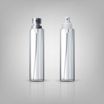 Ilustração de testador de perfume em spray com tampas de metal e plástico