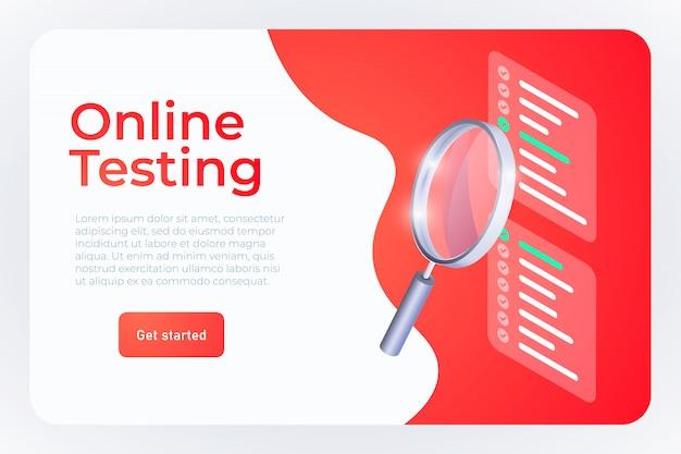 Ilustração de teste on-line, modelo de aterrissagem de página da web.