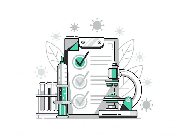 Ilustração de teste positivo de vírus. conceito de teste de laboratório bacteriológico com microscópio, injeção e preparações.