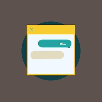 Ilustração, de, texting, mensagem, vetorial, ícone