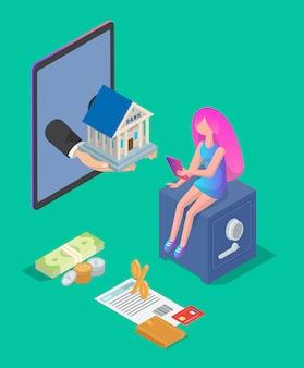 Ilustração de texto de banca on-line